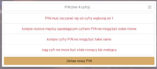 Ograniczenia PIN w pewnym serwisie